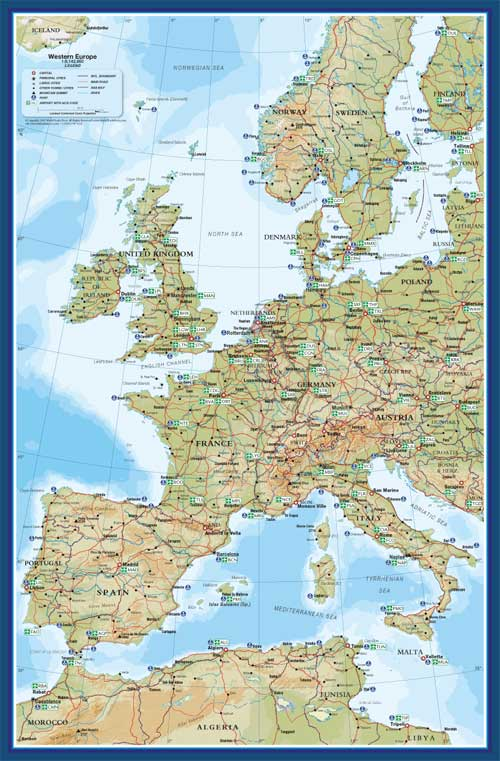 Western Europe Map with Sea Ports & Airports